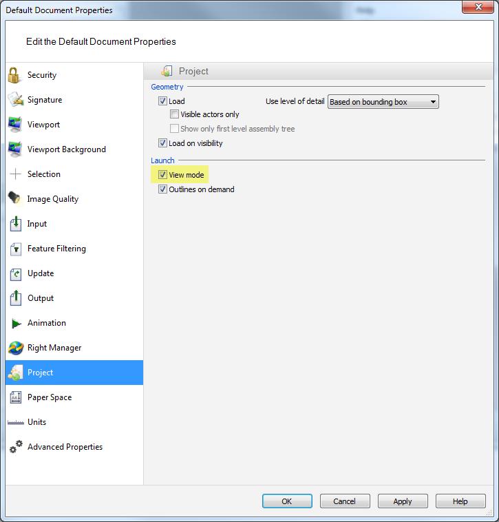 Default document settings