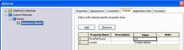 Custom material properties
