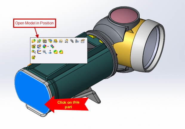 SOLIDWORKS 2015 Open model in position