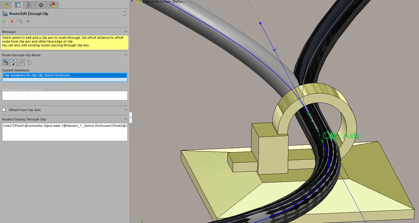 Solidworks 2017 Routing Distinct Routes Through Clips Wire Harness Connector Clip Select The Axis Running Though And Will Automatically Show You Route Or Passing It