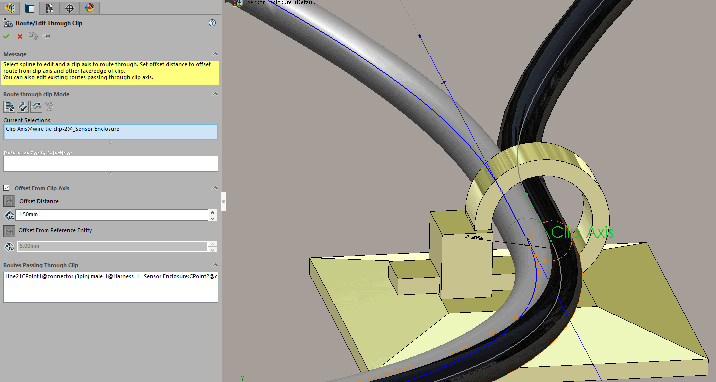 Solidworks 2017 Routing Distinct Routes Through Clips Wire Diagram Repeating These Steps On Black Give Me A Nice Clean Model Where Each Route Is Separately Passing Though The Clip Of Course Offset Distance And