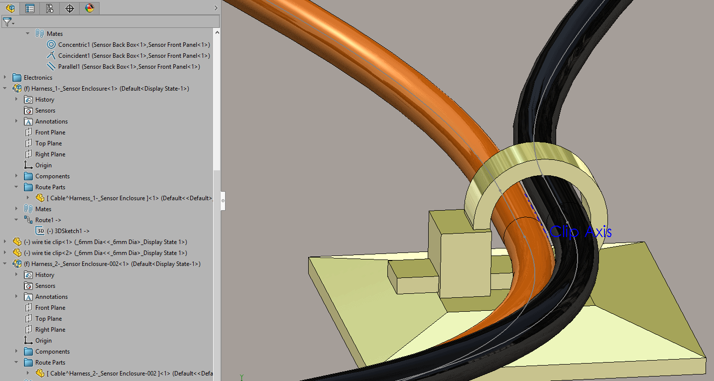 Solidworks 2017 Routing Distinct Routes Through Clips Cable Wire Harness